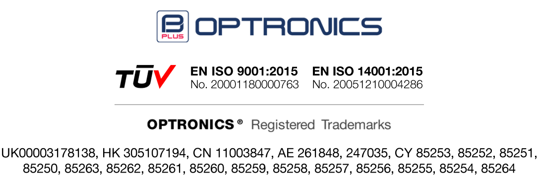 Optronics Trademark and ISO Certificate